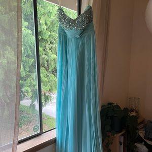 Beautiful beaded blue formal strapless dress